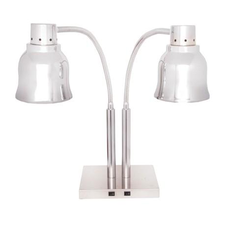 Lampe chauffante sur pied - Chromée / Double - 240002B