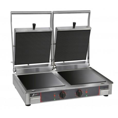 Grill vitrocéramique électrique double - Plaques inf. lisse et sup. rainurée - 10232VRL