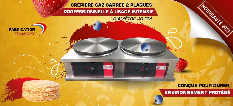 Crêpière gaz carrée professionnelle à usage intensif - Version double - Diamètre 40 mm - CR2CG40